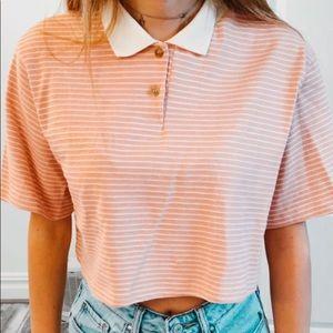 Striped light pink button down shirt